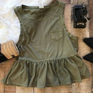 Free People Olive Green Top Peplum Sleeveless